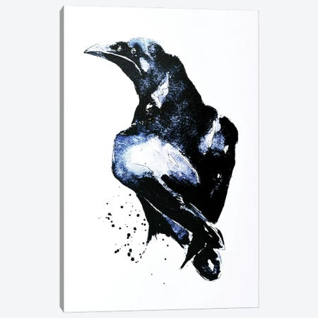 Crow Canvas Print #EWC62} by EdsWatercolours Canvas Art