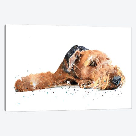 Airedale Canvas Print #EWC6} by EdsWatercolours Canvas Artwork