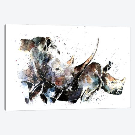 Double Trouble Rhinos Canvas Print #EWC75} by EdsWatercolours Canvas Wall Art