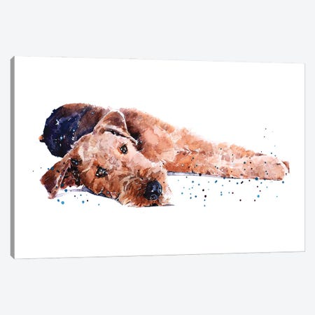 Airedale I Canvas Print #EWC7} by EdsWatercolours Canvas Wall Art