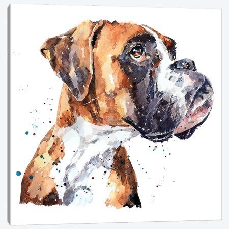 German Boxer Canvas Print #EWC91} by EdsWatercolours Art Print