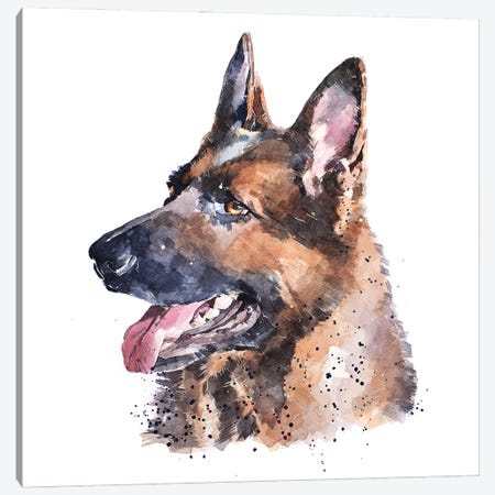 German Shepherd I Canvas Print #EWC92} by EdsWatercolours Canvas Print