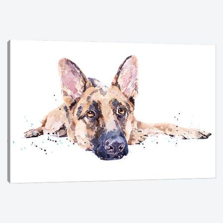 German Shepherd II Canvas Print #EWC93} by EdsWatercolours Canvas Print