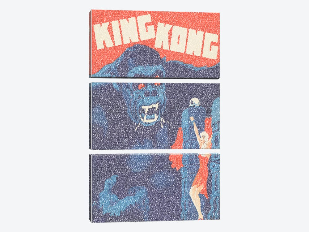 King Kong (Danish Market Movie Poster) by Robotic Ewe 3-piece Canvas Print