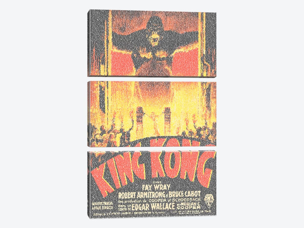 King Kong (French Market Movie Poster) by Robotic Ewe 3-piece Canvas Wall Art