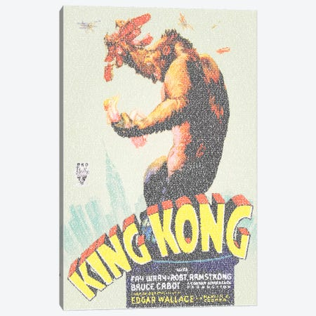 King Kong (U.S. Market Movie Poster) Canvas Print #EWE12} by Robotic Ewe Art Print
