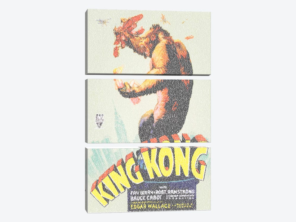 King Kong (U.S. Market Movie Poster) by Robotic Ewe 3-piece Canvas Art Print