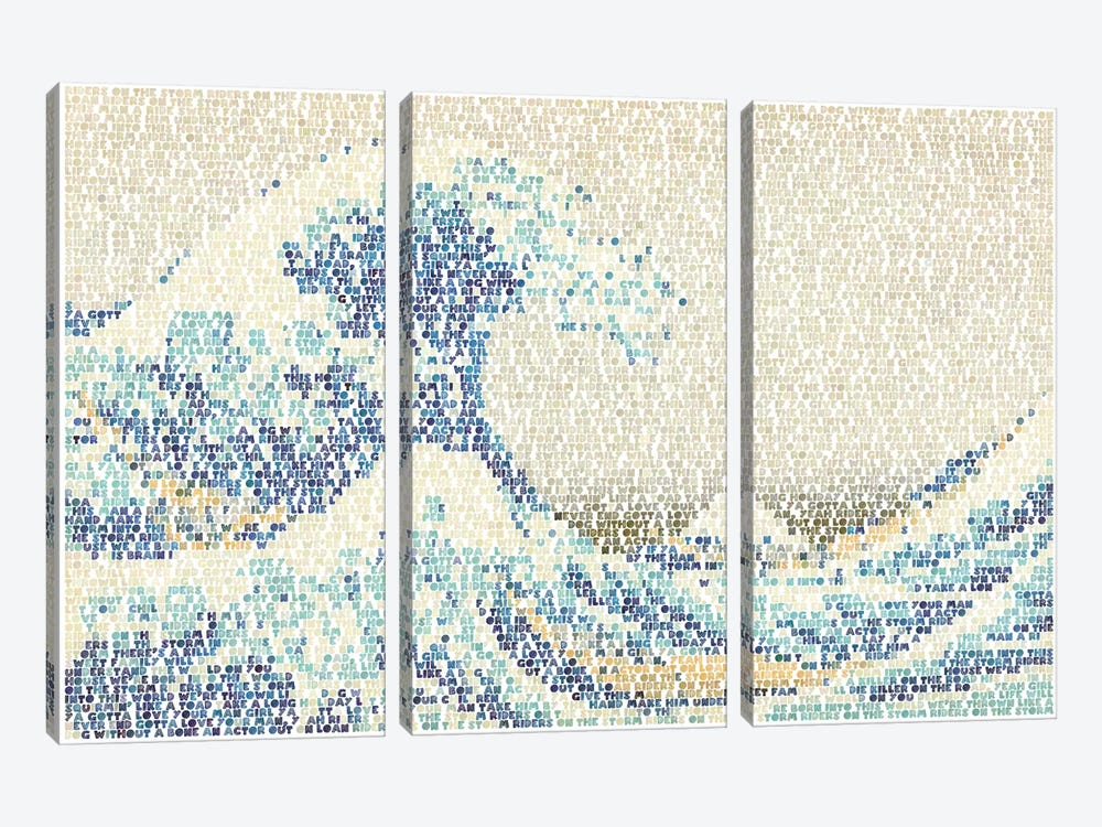 Riders On The Great Wave by Robotic Ewe 3-piece Canvas Art