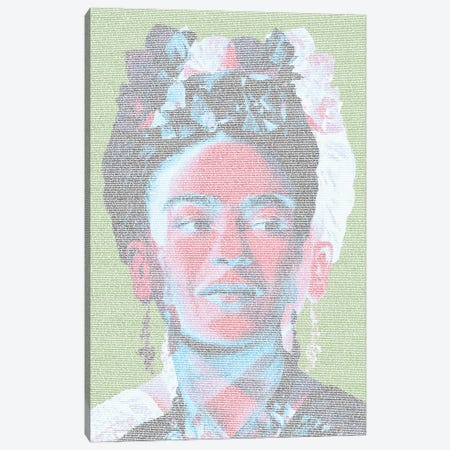 Frida White Canvas Print #EWE38} by Robotic Ewe Art Print