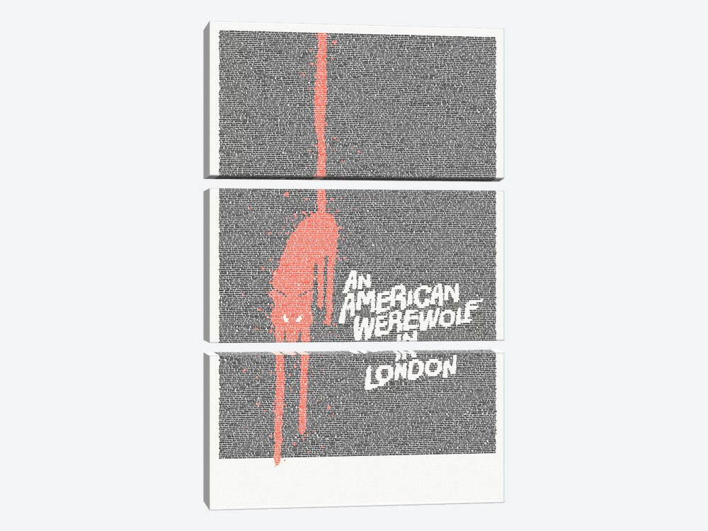 An American Werewolf In London by Robotic Ewe 3-piece Canvas Print