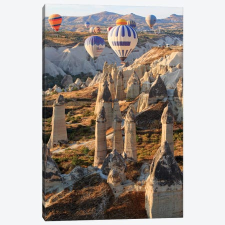 Turkey, Anatolia, Cappadocia, Goreme. Hot air balloons above Red Valley I Canvas Print #EWI10} by Emily Wilson Canvas Art Print