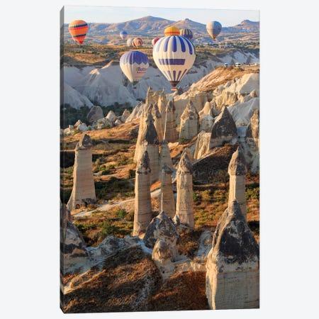 Turkey, Anatolia, Cappadocia, Goreme. Hot air balloons above Red Valley I Canvas Print #EWI10} by Emily Wilson Canvas Art Print
