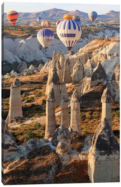 Turkey, Anatolia, Cappadocia, Goreme. Hot air balloons above Red Valley I Canvas Art Print