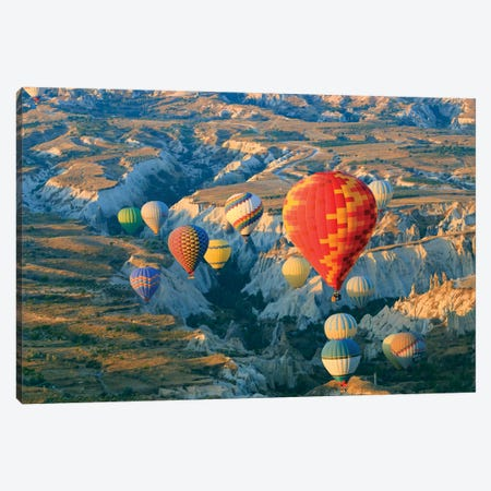 Turkey, Anatolia, Cappadocia, Goreme. Hot air balloons above Red Valley II Canvas Print #EWI11} by Emily Wilson Canvas Print