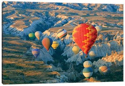 Turkey, Anatolia, Cappadocia, Goreme. Hot air balloons above Red Valley II Canvas Art Print