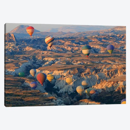 Turkey, Anatolia, Cappadocia, Goreme. Hot air balloons above Red Valley III Canvas Print #EWI12} by Emily Wilson Canvas Print