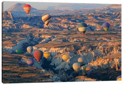 Turkey, Anatolia, Cappadocia, Goreme. Hot air balloons above Red Valley III Canvas Art Print