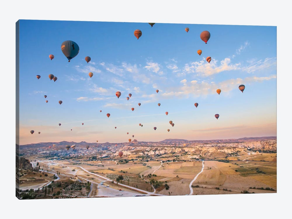 Turkey, Anatolia, Cappadocia, Goreme. Hot air balloons above Red Valley IV by Emily Wilson 1-piece Canvas Art