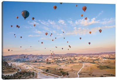Turkey, Anatolia, Cappadocia, Goreme. Hot air balloons above Red Valley IV Canvas Art Print
