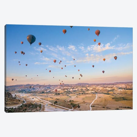 Turkey, Anatolia, Cappadocia, Goreme. Hot air balloons above Red Valley IV Canvas Print #EWI13} by Emily Wilson Canvas Print