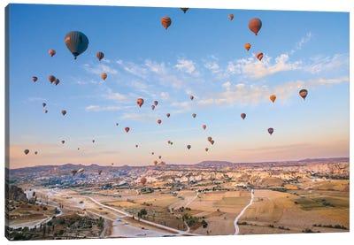 Turkey, Anatolia, Cappadocia, Goreme. Hot air balloons above Red Valley IV Canvas Art Print