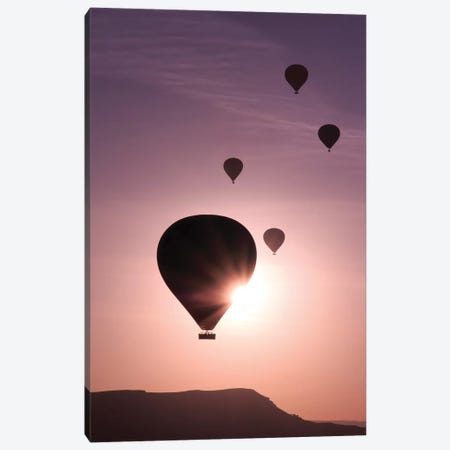 Turkey, Anatolia, Cappadocia, Goreme. Hot air balloons flying above the valley I Canvas Print #EWI14} by Emily Wilson Canvas Wall Art