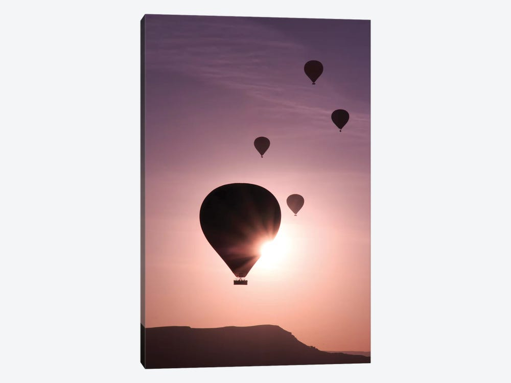 Turkey, Anatolia, Cappadocia, Goreme. Hot air balloons flying above the valley I by Emily Wilson 1-piece Canvas Art Print