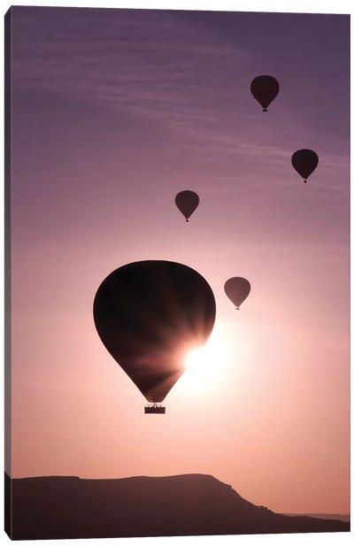 Turkey, Anatolia, Cappadocia, Goreme. Hot air balloons flying above the valley I Canvas Art Print
