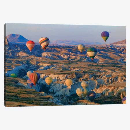 Turkey, Anatolia, Cappadocia, Goreme. Hot air balloons flying above the valley II Canvas Print #EWI15} by Emily Wilson Canvas Artwork