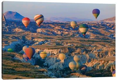 Turkey, Anatolia, Cappadocia, Goreme. Hot air balloons flying above the valley II Canvas Art Print
