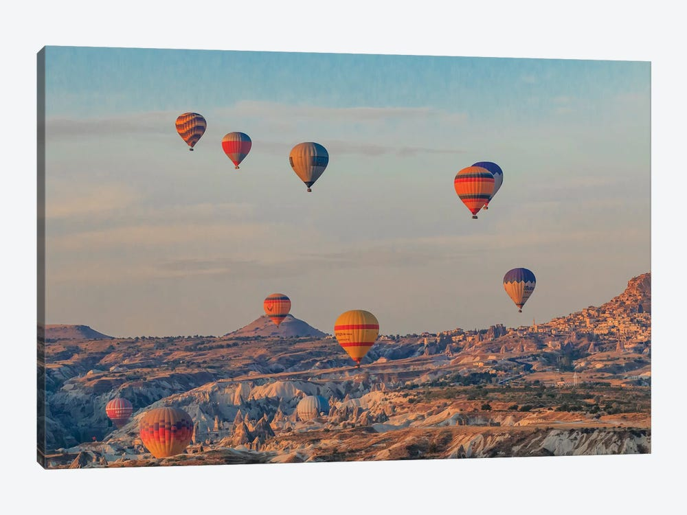 Turkey, Anatolia, Cappadocia, Goreme. Hot air balloons flying above the valley III by Emily Wilson 1-piece Canvas Print