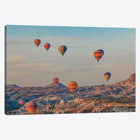 Turkey, Anatolia, Cappadocia, Goreme. Hot air balloons flying above the valley III Canvas Print #EWI16} by Emily Wilson Canvas Artwork