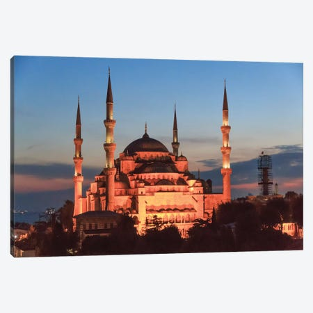 Turkey, Istanbul. Sultan Ahmet Mosque, Rooftop view. Canvas Print #EWI17} by Emily Wilson Canvas Wall Art