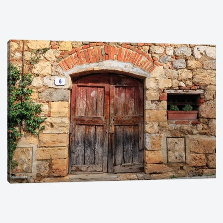 Italy, Monteriggioni. Stone wall, wooden door with planted geraniums. Canvas Print #EWI21} by Emily Wilson Canvas Wall Art