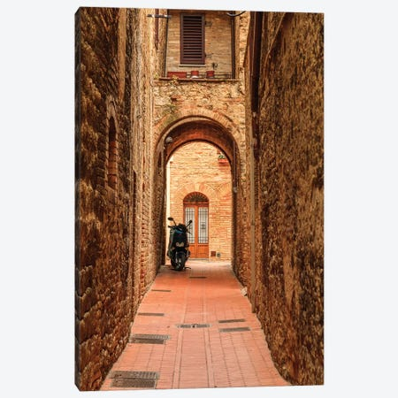 Italy, San Gimignano. Alleyway with motorbike. Canvas Print #EWI23} by Emily Wilson Canvas Wall Art