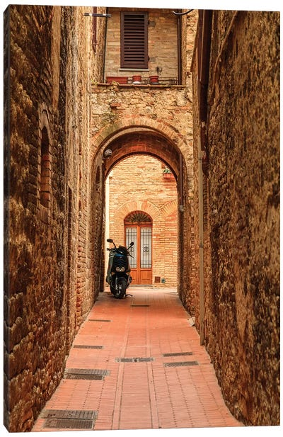 Italy, San Gimignano. Alleyway with motorbike. Canvas Art Print