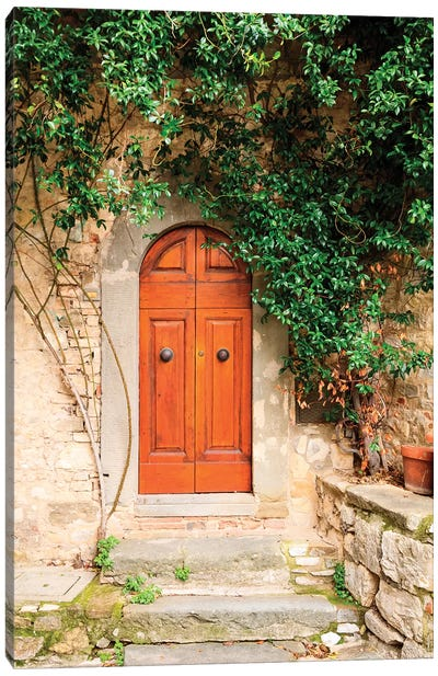 Italy, Tuscany, Greve in Chianti. Chianti vineyards. Stone farm house entrance door. Canvas Art Print