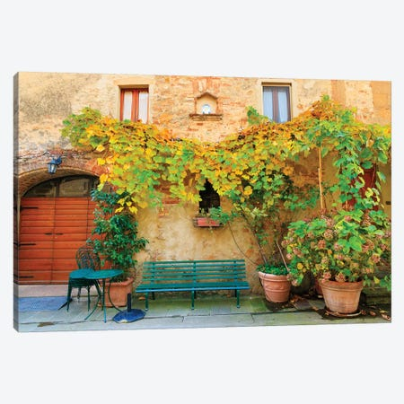 Italy, Tuscany, province of Siena, Chiusure. Hill town. Fall colors and park bench. Canvas Print #EWI27} by Emily Wilson Canvas Art Print
