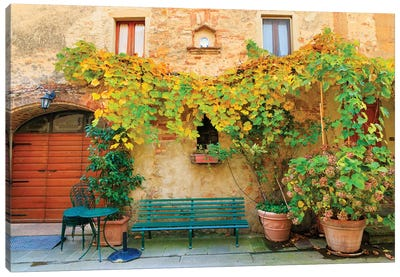 Italy, Tuscany, province of Siena, Chiusure. Hill town. Fall colors and park bench. Canvas Art Print
