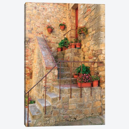 Italy, Val d'Orcia in Tuscany, province of Siena, Monticchiello. Stairs with potted flowers. Canvas Print #EWI30} by Emily Wilson Canvas Art Print