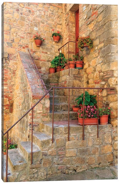 Italy, Val d'Orcia in Tuscany, province of Siena, Monticchiello. Stairs with potted flowers. Canvas Art Print