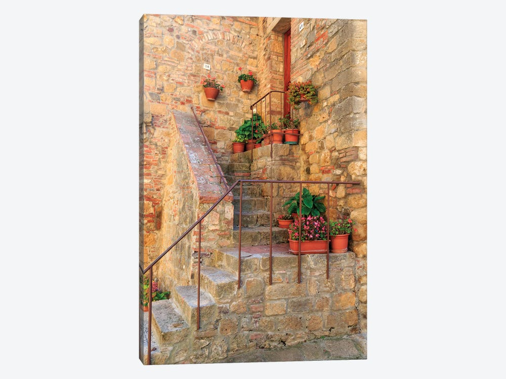 Italy, Val d'Orcia in Tuscany, province of Siena, Monticchiello. Stairs with potted flowers. by Emily Wilson 1-piece Art Print
