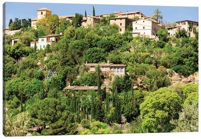 Spain, Balearic Islands, Mallorca. Cala Banyalbufar. Beachfront condos, houses. Canvas Art Print