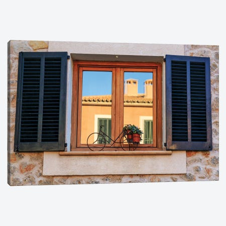 Spain, Balearic Islands, Mallorca. Esporles, Shuttered windows. Canvas Print #EWI32} by Emily Wilson Art Print