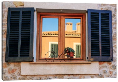 Spain, Balearic Islands, Mallorca. Esporles, Shuttered windows. Canvas Art Print