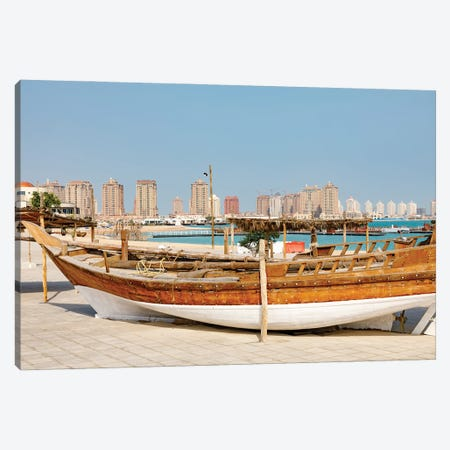 State of Qatar, Doha. Traditional dhow. Canvas Print #EWI35} by Emily Wilson Canvas Art