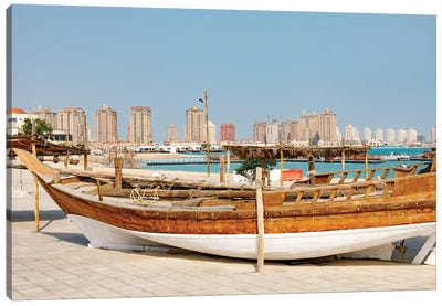 State of Qatar, Doha. Traditional dhow. Canvas Art Print