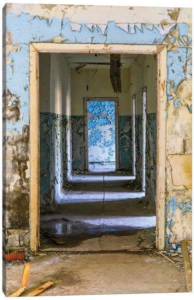 Ukraine, Pripyat, Chernobyl. Abandoned corridor of hospital building. Canvas Art Print