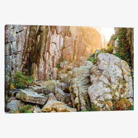 Sweden, Bohuslan Province. Path through wedged rocks near Uddevalla. Canvas Print #EWI37} by Emily Wilson Canvas Wall Art