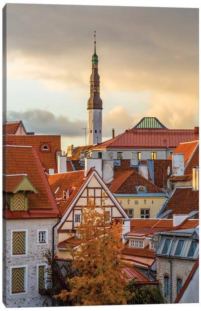 Baltic States, Estonia, Tallinn. Rooftops near city walls. Canvas Art Print